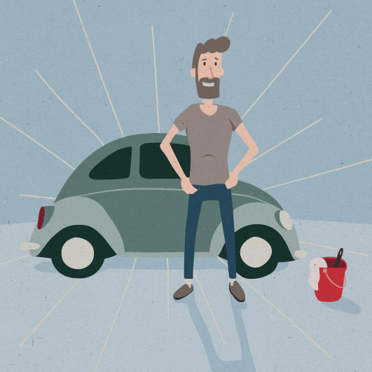 Illustration carwash Go samtale