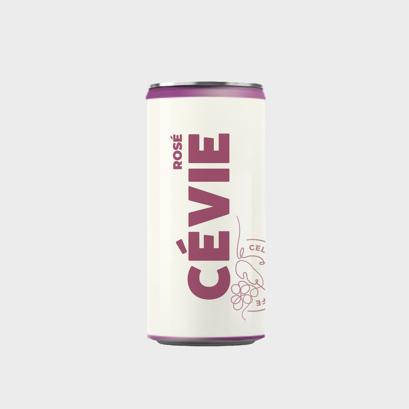 Cevie label design – rosé på dåse. FRIDAJOHS design studio