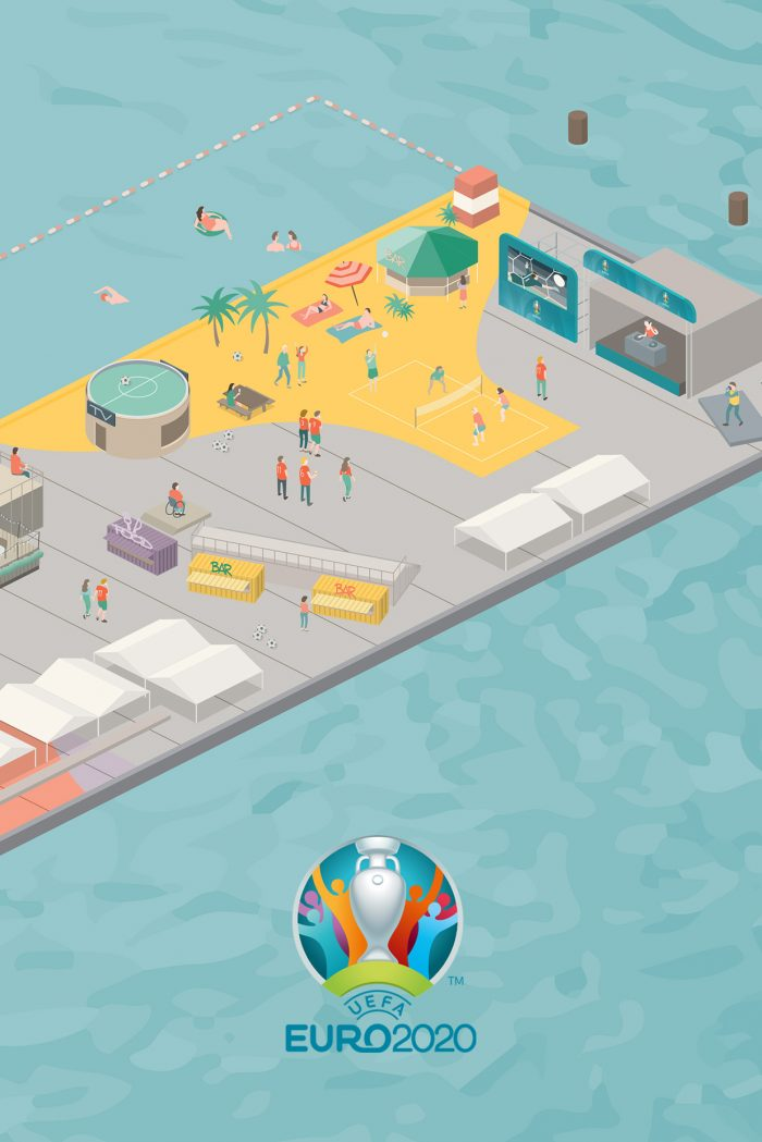 EURO 2020 Football Village Illustration